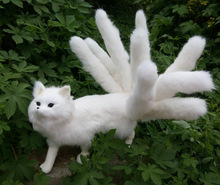 big Simulation nine-tail fox toy polyethylene&furs white walking fox model gift about 35x23cm y0330