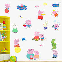 Cartoon Cute Pink Peppa Pig Wall Stickers Home Decor George Pig Family  Decals For Children Room Girl Baby Boy Birthday Gifts Part 75