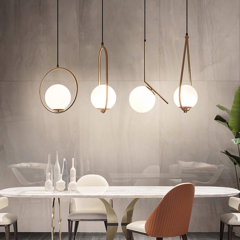 Скандинавский светильник, подвесной светильник для столовой, бара, стеклянный шар, подвесной светильник, подвесные светильники Подвесные светильники      АлиЭкспресс