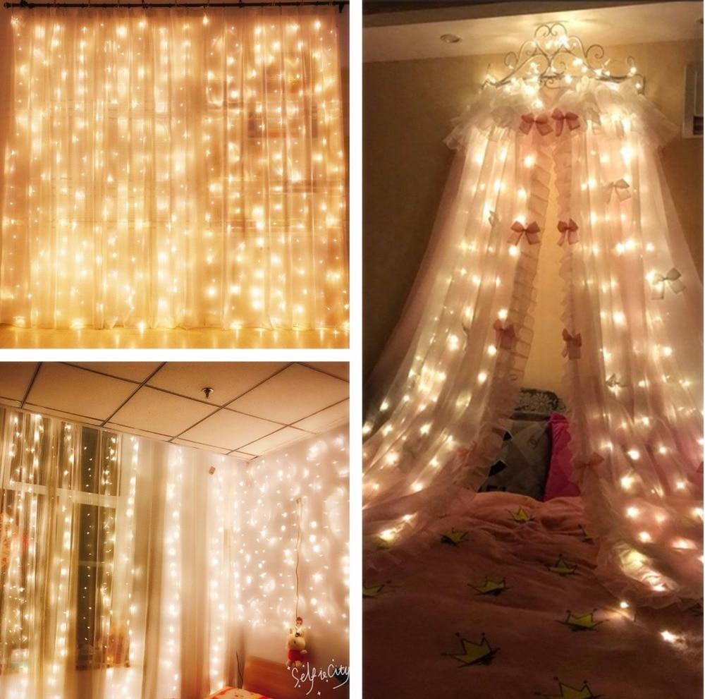 300LED сосулька строка огни открытый праздник Рождество декоративные свадьбы Xmas гирляндой для Шторы гирлянды полосы вечерние свет