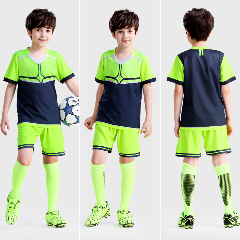 Boys' jersey football suit children's summer primary school short sleeved football training suit light plate customized Jersey. футболка huf wreaking havoc football jersey gray heather