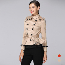Fashion Double-breasted Women Ruffled Short Trench B17