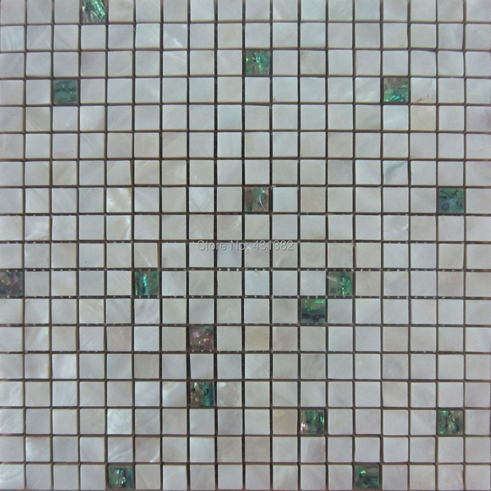 Mosaic Tiles Paua Shell With White Shell Tile Mixed