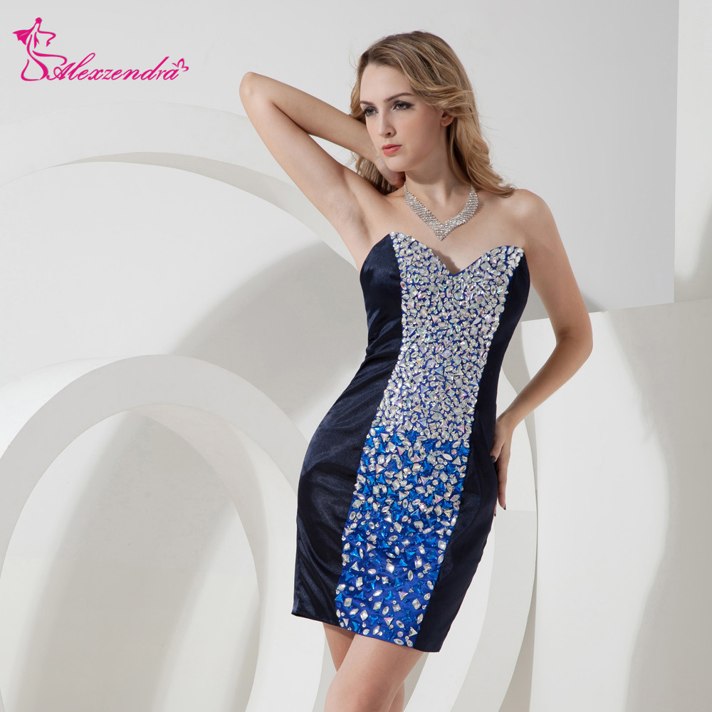 Alexzendra Sweetheart Straight Mini Beaded Crystal Sexy   Prom     Dresses   Customize Special Party Gowns