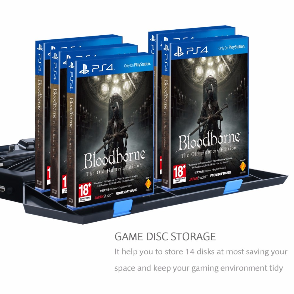 [Upgraded] PS4 Vertical Stand with Cooling Fan, Cooler Fan Game Holder Dual Charging Station with USB HUB and 14 Disc Storge