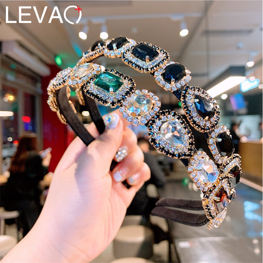 Levao Baroque Crystal Headband Women Hairband Square Rhinestone Hair Hoop Metal Retro Prom Party Hairbands Hair Accessories