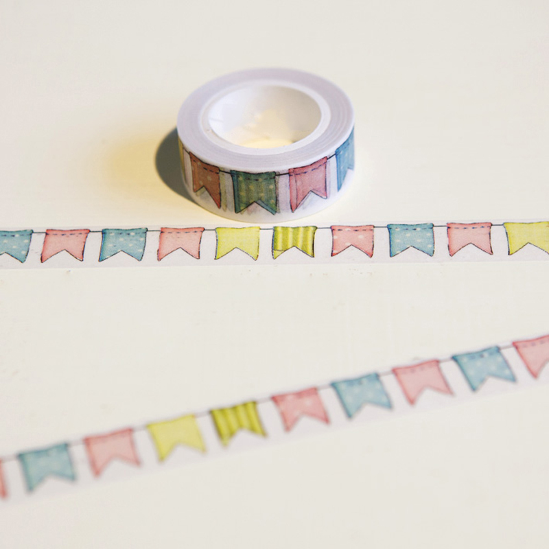 1 Pc / Pack 15mm*10m Japanese Washi Decorative Adhesive Tape Flags Pattern Masking Paper Tape Diary Sticker Gift Free Shipping page flags green 50 flags dispenser 2 dispensers pack page 2