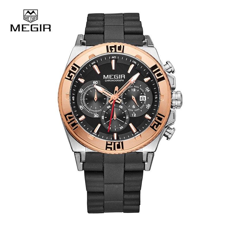 e3e8a1e5c52 MEGIR Relógios Esportivos Para Homens Relógio Cronógrafo De Quartzo Moda  Running Luminosa relógio de Pulso Masculino Relógio Negócio Luxurymen 3009  Hot