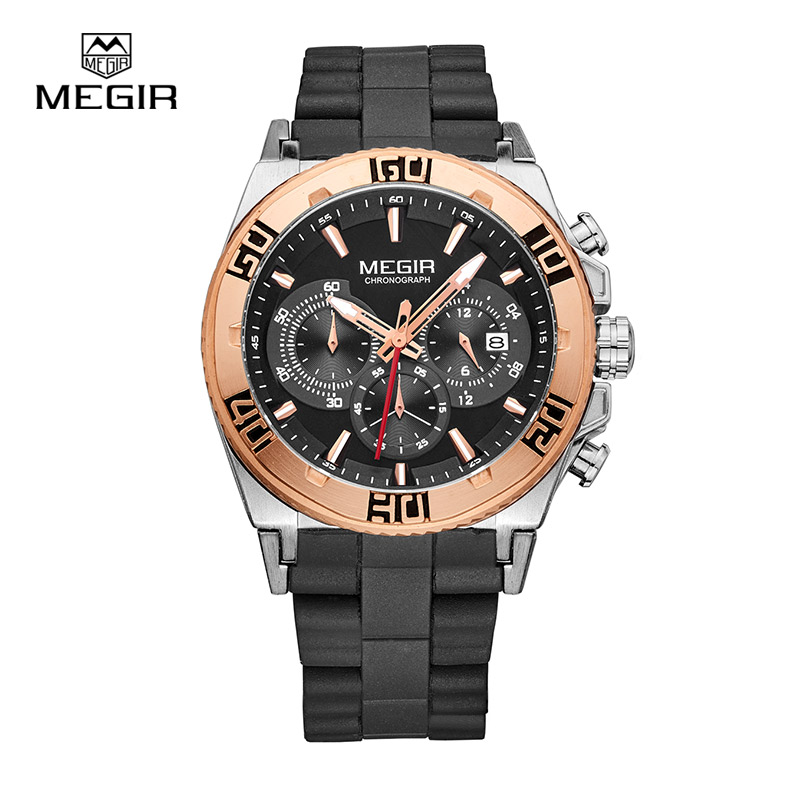 MEGIR Sport Watches For Men Chronograph Quartz Watch Fashion Luminous Running Wristwatch Male Business Watch Luxurymen 3009 Hot megir fashion sport quartz watches men casual leather brand wristwatch man hot waterproof luminous stop watch for male hour 2015