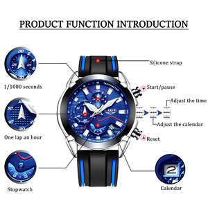 Image 4 - LIGE relojes para hombre, correa de silicona, cronógrafo deportivo, resistente al agua, de cuarzo, de negocios, masculino