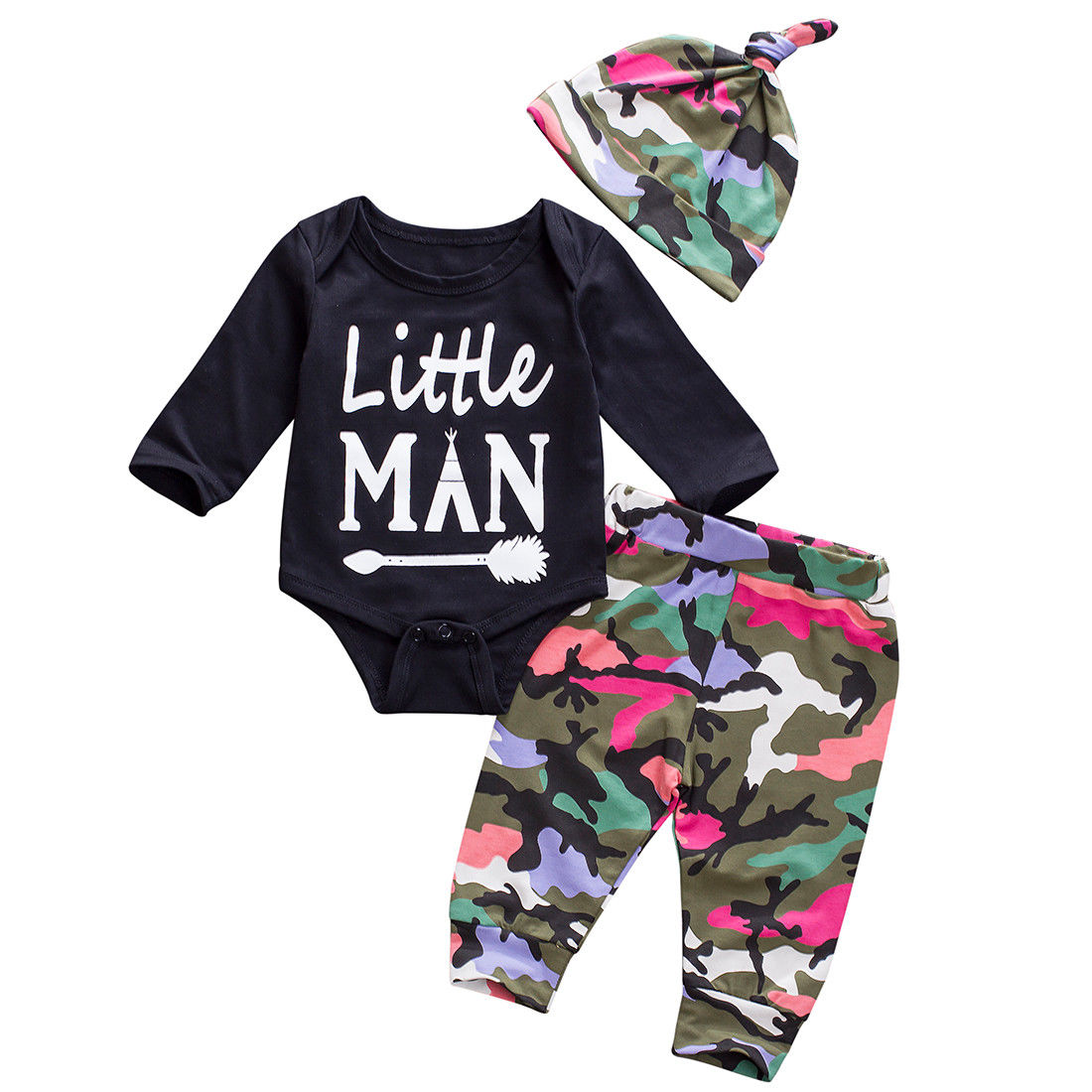 Армейский зеленый для маленьких мальчиков Лил человек комплект одежды новорожденных Топы корректирующие комбинезон камуфляж Брюки для де...