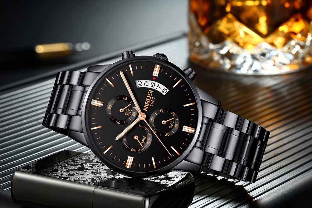 Relojes de hombre NIBOSI Relogio Masculino, relojes de pulsera de cuarzo de estilo informal de marca famosa de lujo para hombre, relojes de pulsera Saat 10