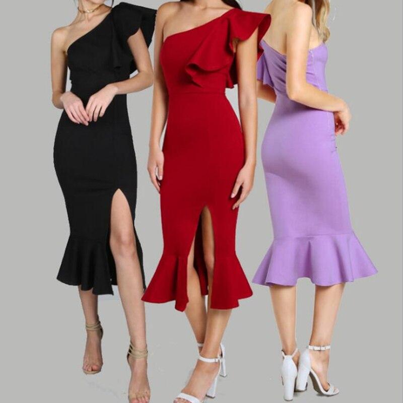 women dress The new sexy body with a shoulder slanted shoulder and a long dress summer dress bandage dress vestido de festa