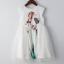 Летнее платье для девочек 3-10 лет, платье принцессы с цветочной вышивкой для девочек, детские вечерние платья для девочек, детские платья с принтом