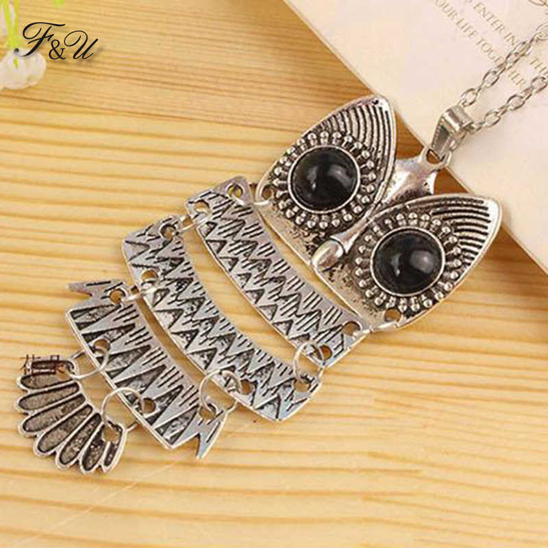 F&U Top Sale Owl Fashion Jewelry Korean Style Retro Metal Owl Necklace Long Sweater Chain Punk European and American Style