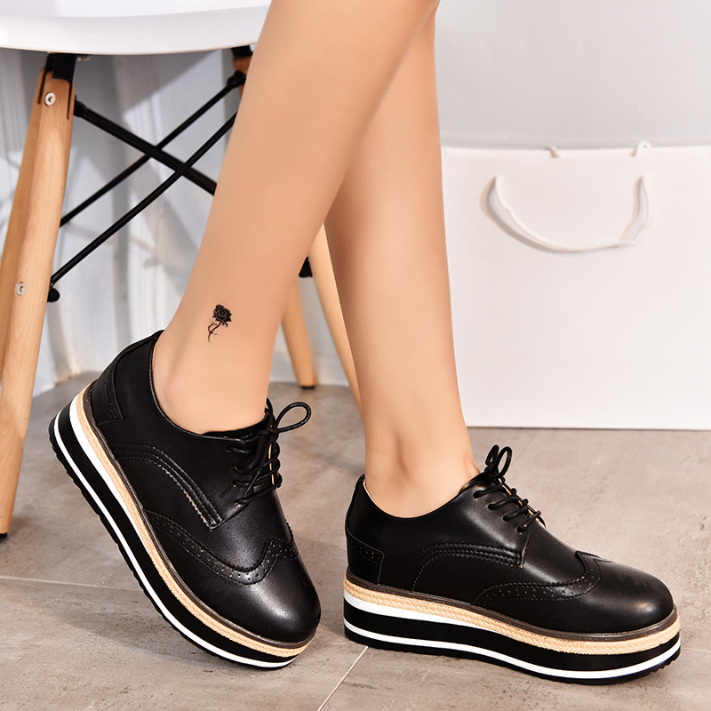 2019 Spring/Autumn New Women Shoes High-heel Wedges Platform Shoes Woman Internal Increase Fashion Casual Lace-up Ladies Shoes
