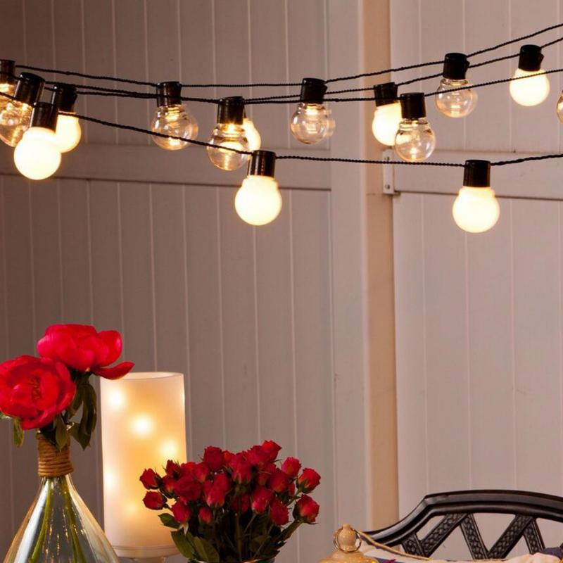 Outdoor Patio String Lights 20 LED G45 Globe Clear Warm White Bulbs Frosted  US(China