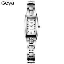 Hot Sale Geya Fashion Brand Women Bracelet Watch Tonneau Rose Gold Waterproof Tungsten Steel Strap Quartz Watches Ladies Clock