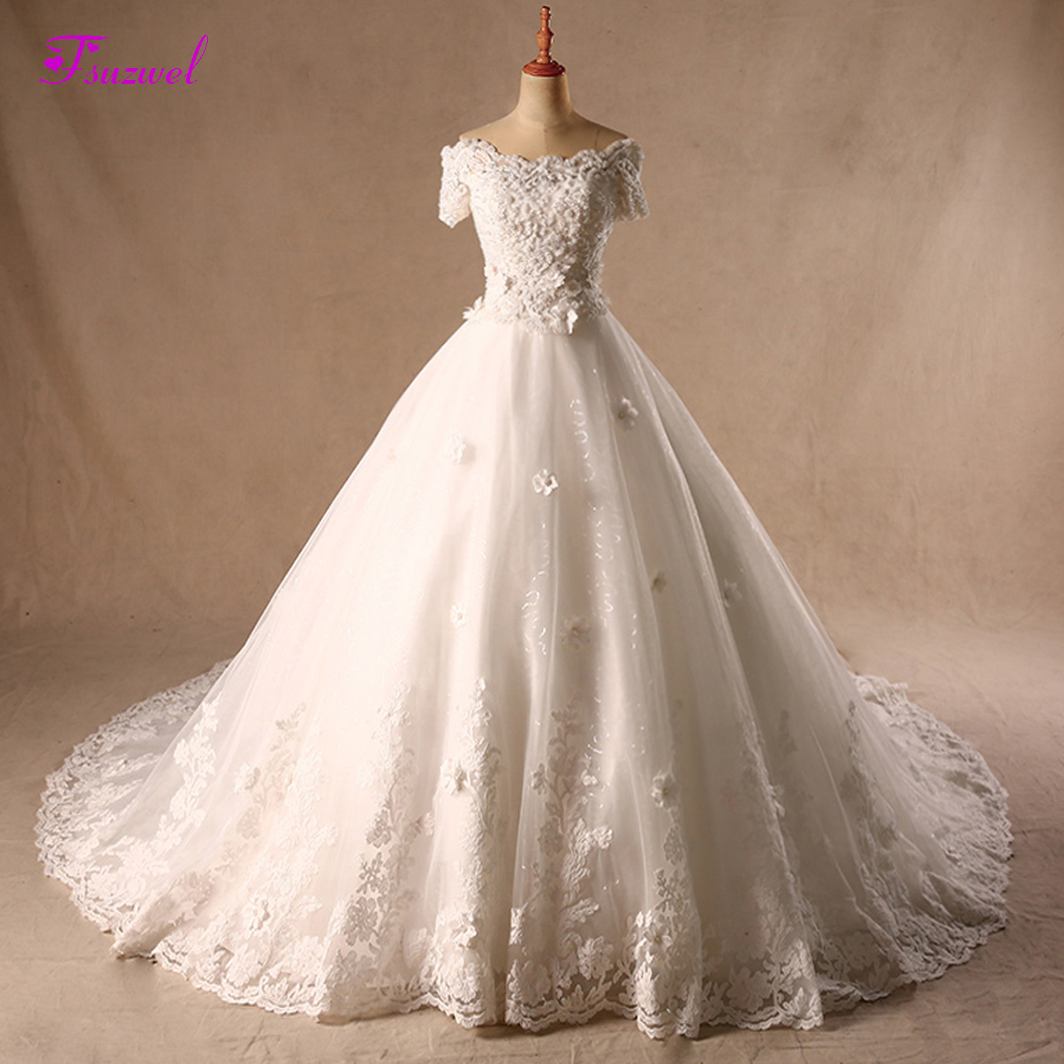 Fsuzwel Boat Neck Appliques Lace Up Flowers A-line Wedding Dresses 2019 Pearls Beaded Chapel Train Wedding Gown Vestido de Noiva