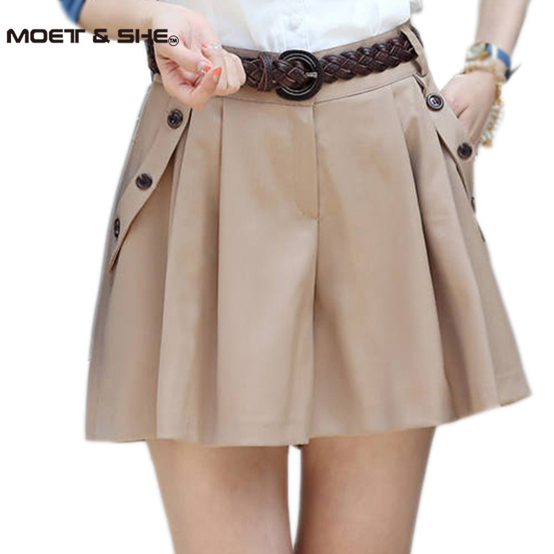 Women  Spring/Summer New Fashion A-line Culottes Shorts Skirts Female Casual Hot Bottom Skorts With Belt Plus Size B52905