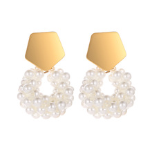 Fashion Geometric Earrings Golden Imitation Pearl Handmade for Women Party Jewelry 050