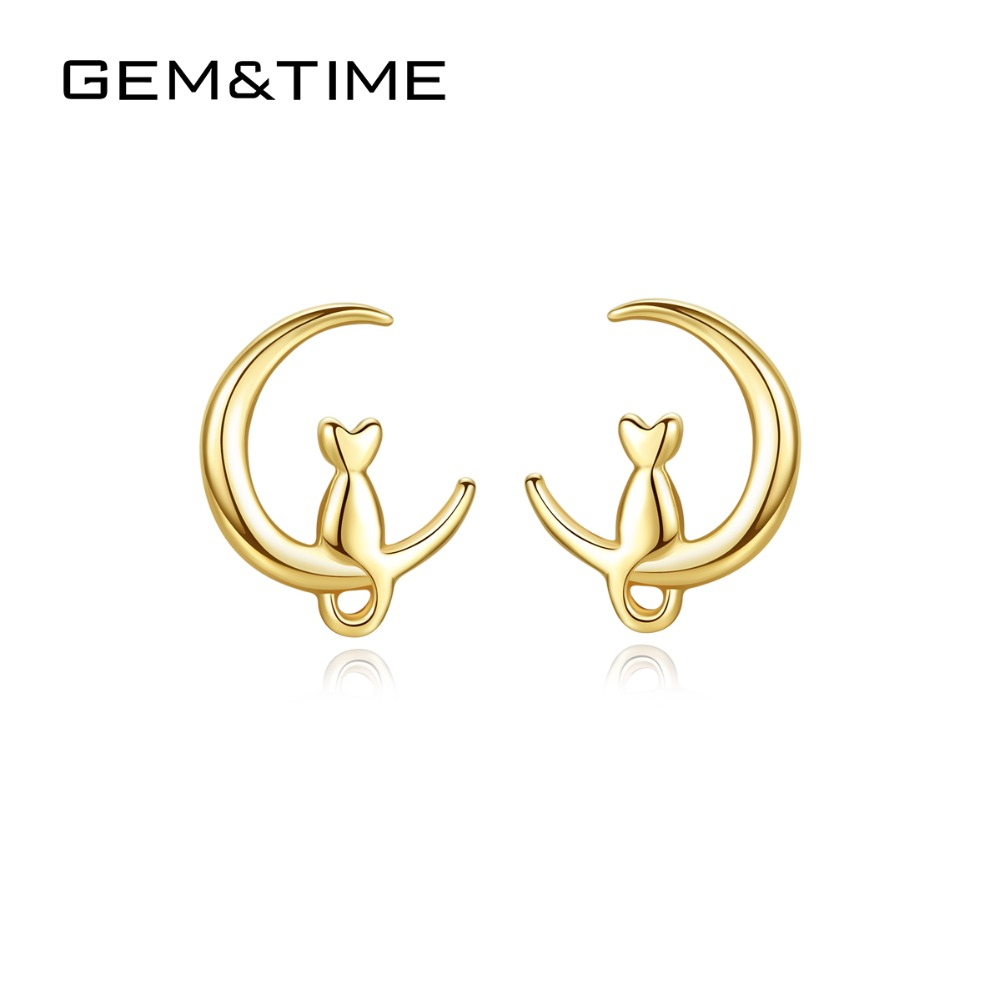 Gem&Time Solid 14K Gold Cute Cat on Moon Gold Stud Earrings for Women Wedding Engagement 14K Yellow Gold Pendientes AU585 E14050Gem&Time Solid 14K Gold Cute Cat on Moon Gold Stud Earrings for Women Wedding Engagement 14K Yellow Gold Pendientes AU585 E14050