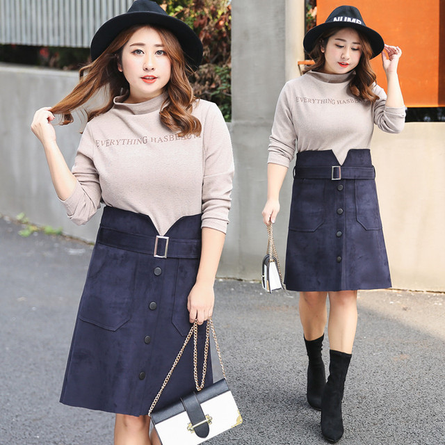 5f8b0d1c654 Korean Style Casual Full Sleeve Turtleneck T-shirt A-Line Skirts Plus Size  XL-4XL Women Sets 2019 Spring New Top Selling