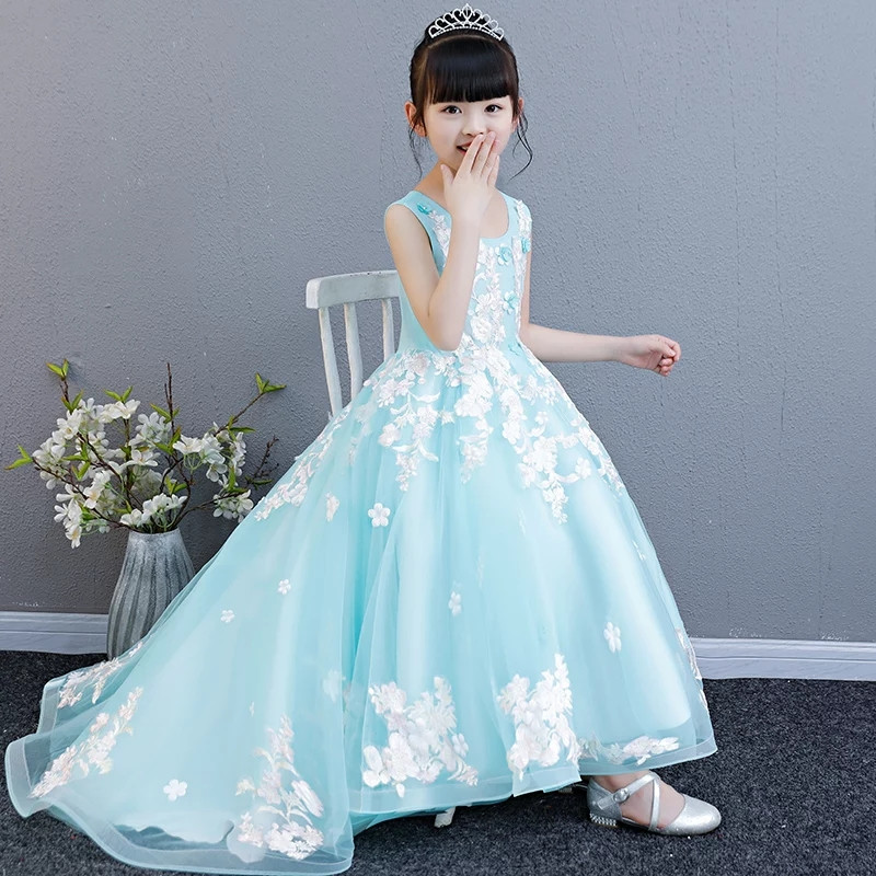 Girls Evening Party Dress Elegant 2018Summer New Long Tail Princess Appliques Flowers dress children kids wedding birthday dress laptop keyboard for clevo w670sfq w670sfq1 black without frame slovenian sv