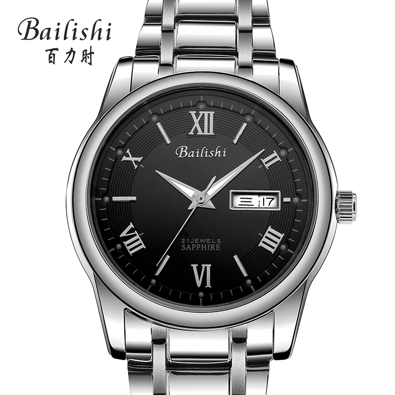 2017 Bailishi famous brand men business automatic self wind watches black dial transparent glass silver case stainless steel ban car accessories fit for jeep compass 2017 2018 stainless steel rear tailgate trunk lid tail gate protector trunk cover trim 2pcs