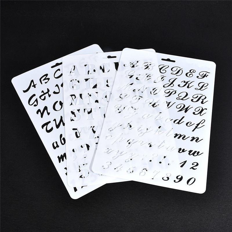 1PC Plastic Stencils Letter Alphabet Number Layering Painting DIY Scrapbooking Paper Cards Craft Photo Album Decors Stationery
