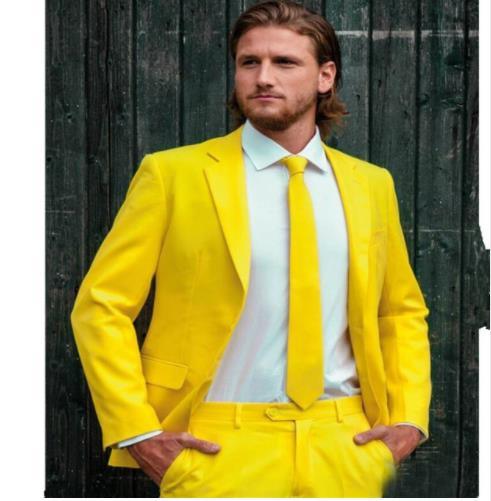 ใหม่มาถึงสีเหลือง Mens เจ้าบ่าวทักซิโดเจ้าบ่าวงานแต่งงานงานเลี้ยงอาหารค่ำที่ดีที่สุด Man สูท Blazer (แจ็คเก็ต + กางเกง + tie)-ใน สูท จาก เสื้อผ้าผู้ชาย บน   1