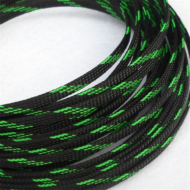 Black & Green - High quality 10mm Braided PET Expandable Sleeving High Density Sheathing Plaited Cable Sleeves 1M