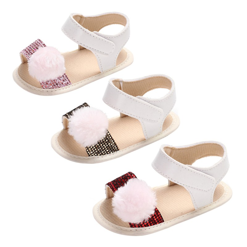 2018 Casual Baby First Walkers Summer Fashion Hairball Sequins Decoration Kid Crib Shoes Soft Sole Antislip Prewalkers Q1