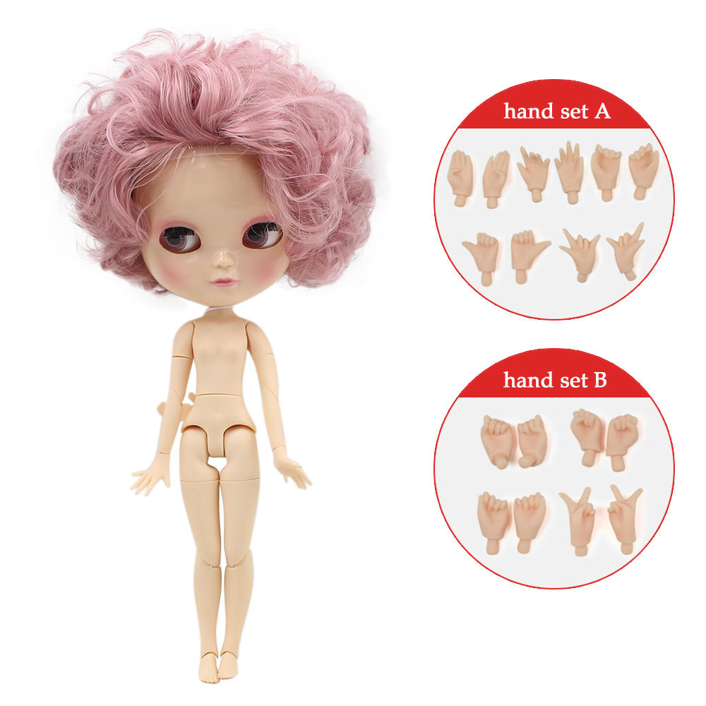 Neo Blythe Doll with Pink Hair, White Skin, Shiny Face & Jointed Azone Body 1