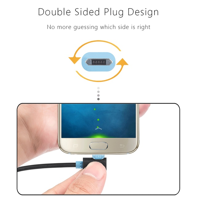 COOLSELL Reversible Left Right Angle 8 Pin USB Micro USB Cable 90 Degree Fast Charging Data Sync Cords for iPhone 5 6 Samsung LG