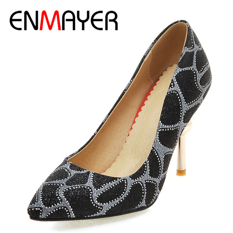 ENMAYER New Spring and Autumn Women High Heels Dress High Heel Fashion Pumps Pointed toe 3Colors Pumps Soft Leather Sexy Pumps 2016 spring and summer free shipping red new fashion design shoes african women print rt 3