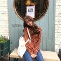 Korean Style Casual Fresh All Match Flower Chiffon Cute Long Sleeve Female Shirts