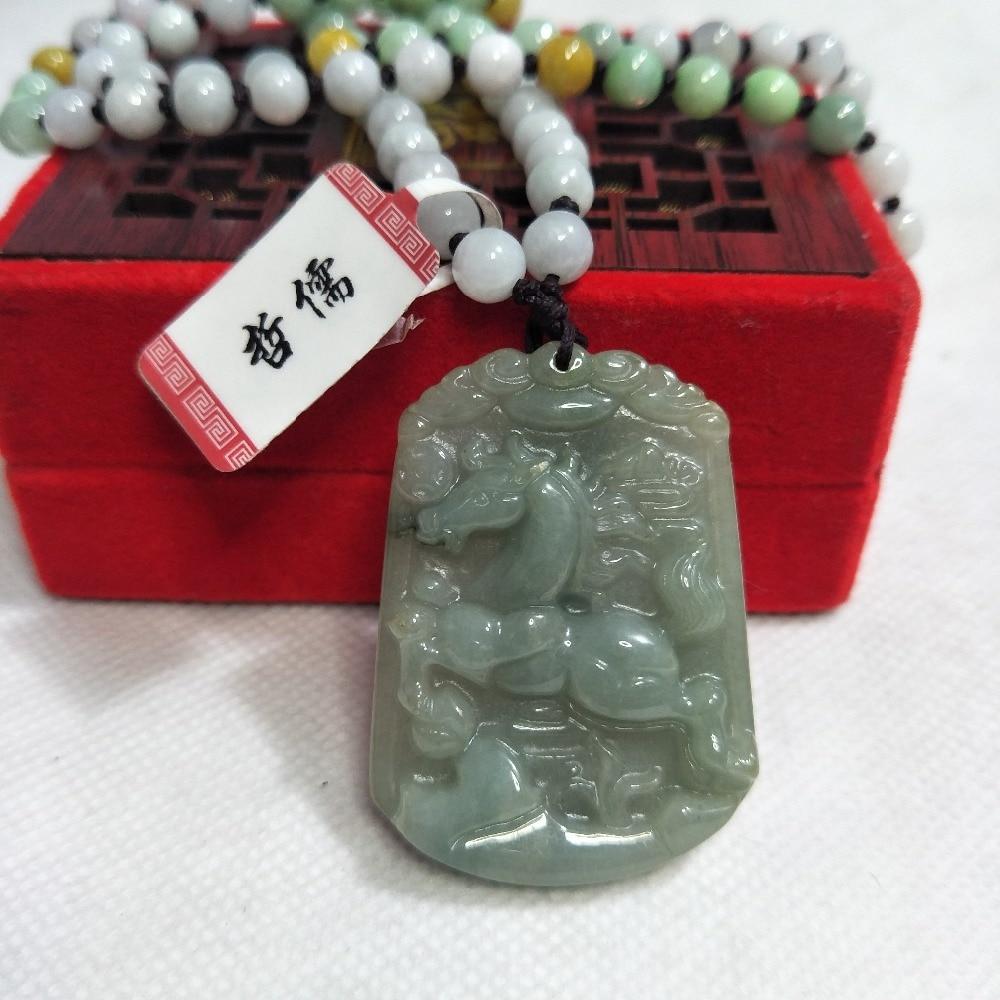 Zheru bijoux pur naturel jadéite vert foncé zodiaque cheval pendentif tricolore Jade perle collier envoyer un certificat de pays