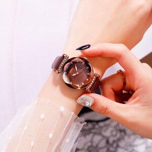 Image 3 - Mode Frauen Quart Uhr Luxus Starry Zifferblatt frauen Uhren Damen Kleid Armbanduhr Wasserdicht Armband Uhr Top Marke SKMEI