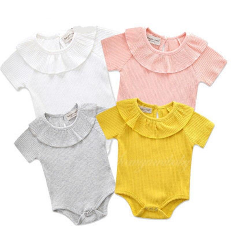 2018 Summer girls peter pan collar short sleeve cotton jumpers princess climbing clothes cute childrens casual outwear 18M06