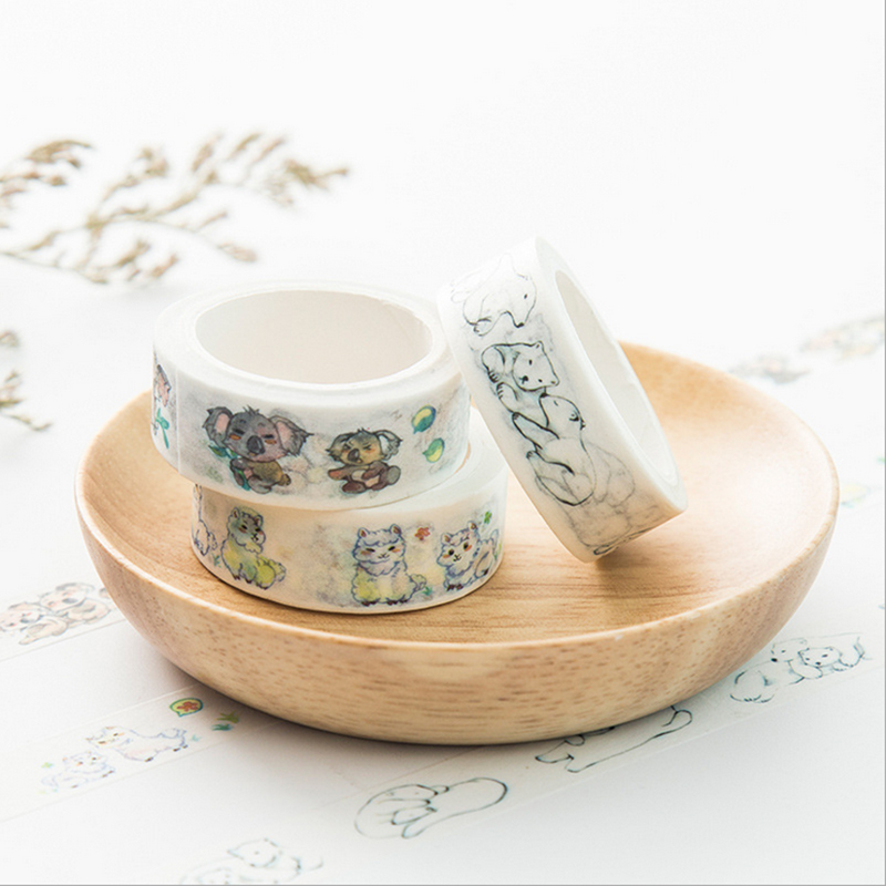 15mm*7m Cute Polar Bear Koala Washi Tape DIY Decoration Scrapbooking Planner Masking Tape Adhesive Tape Label Sticker Stationery