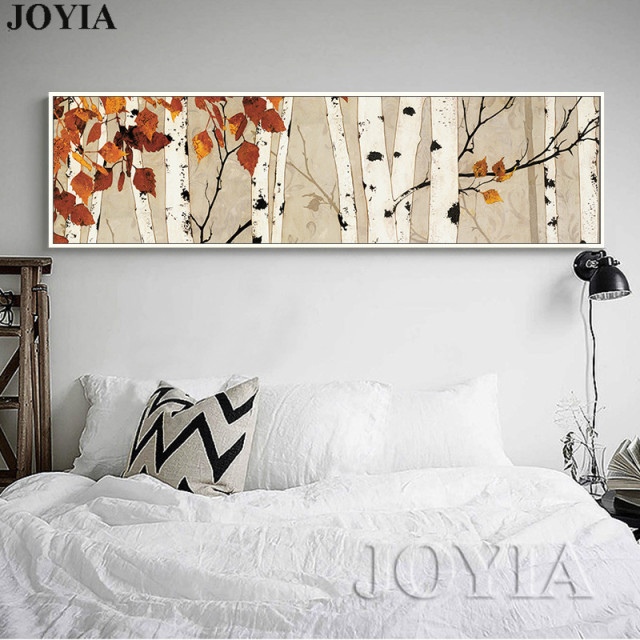 Birch Tree Large Canvas Wall Art Bedroom Decor Abstract Painting U0026  Calligraphy For Living Room Horizontal