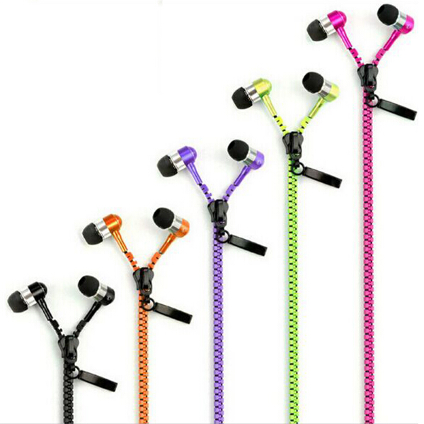 Metal Zipper Earphone 3.5mm In-Ear Wired Ear Phones With Microphone Stereo Bass Earbuds For Mobile Phone MP3 MP4 Music Players kst x2 in ear stereo earphone with metal earbuds