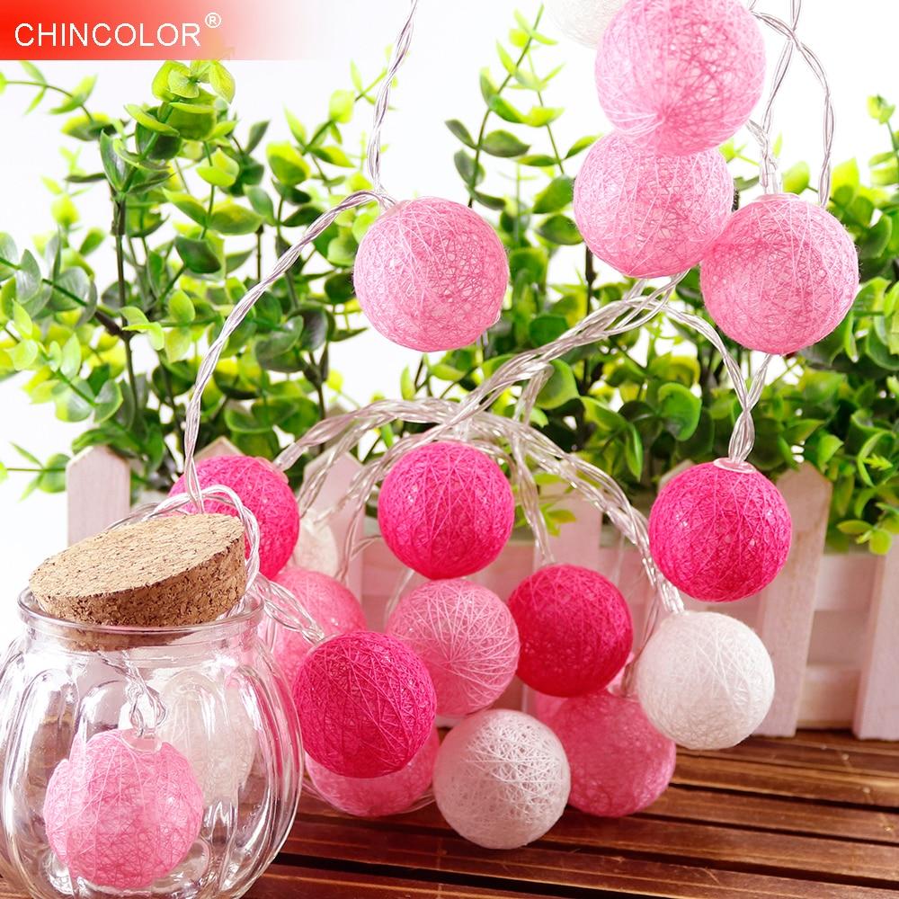 Cotton Ball Led Light String 10Leds Holiday Lights Pink Girl 3.5cm Dia 8 Series Fairy Garland Christmas Wedding Decoration IQ
