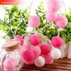 Bawełniana piłka led Light string 10Leds świąteczna światełka różowa dziewczyna 3.5cm Dia 8 seria Fairy Garland świąteczna dekoracja ślubna IQ