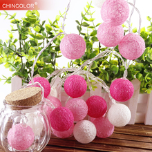 Cotton Ball led Light string 10Leds Holiday lights Pink Girl 3.5cm Dia 8 Series Fairy Garland Christmas Wedding Decoration TR