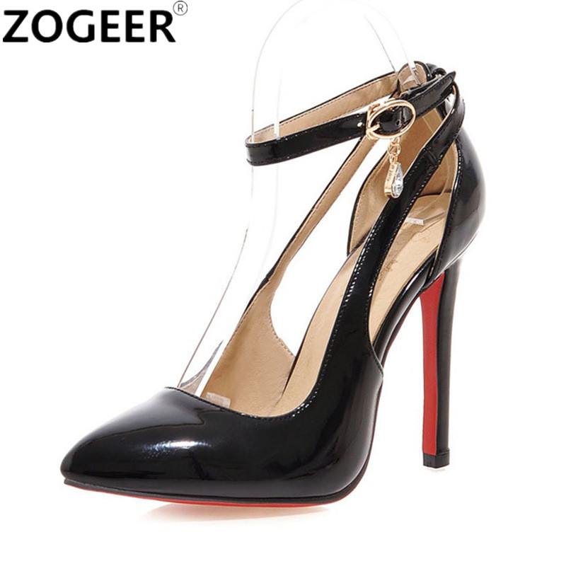 Plus Size 43 Sexy High Heels Shoes Women Pumps Sweet Luxury Black Red Pink Wedding Shoes Ankle strap Pumps Sapatos Femininos