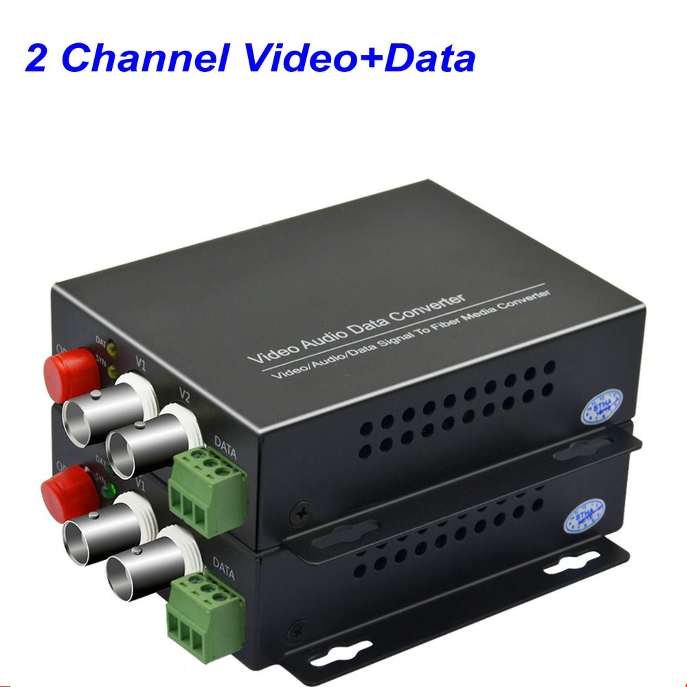 1Pair 2 Channel Digital Video Fiber Optical Media Converters Extender With 485 Data FC Fiber Optic Up To 20Km For CCTV Security