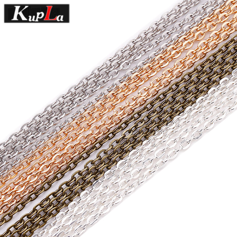 Kupla 10m/lot Metal Chains Jewelry Findings & Components Fashion High Quality Necklace Link Chains & Jewelry Making 3*4mm C7154