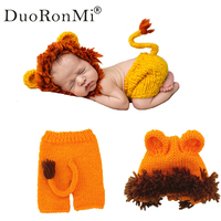 Handmade Newborn Baby Photography Props Baby Photography Accessories Girls Photo Props Knitted Crochet Lion Costume Animal